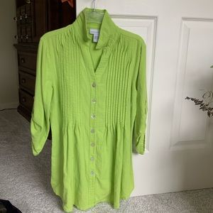 Soft Surroundings green Pleated Tunic Top XS